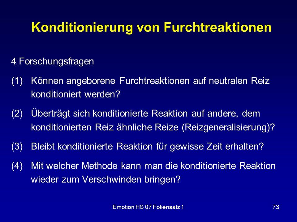 Emotion HS 07 Foliensatz 173 Konditionierung von Furchtreaktionen 4 Forschungsfragen (1)Können angeborene Furchtreaktionen auf neutralen Reiz konditio