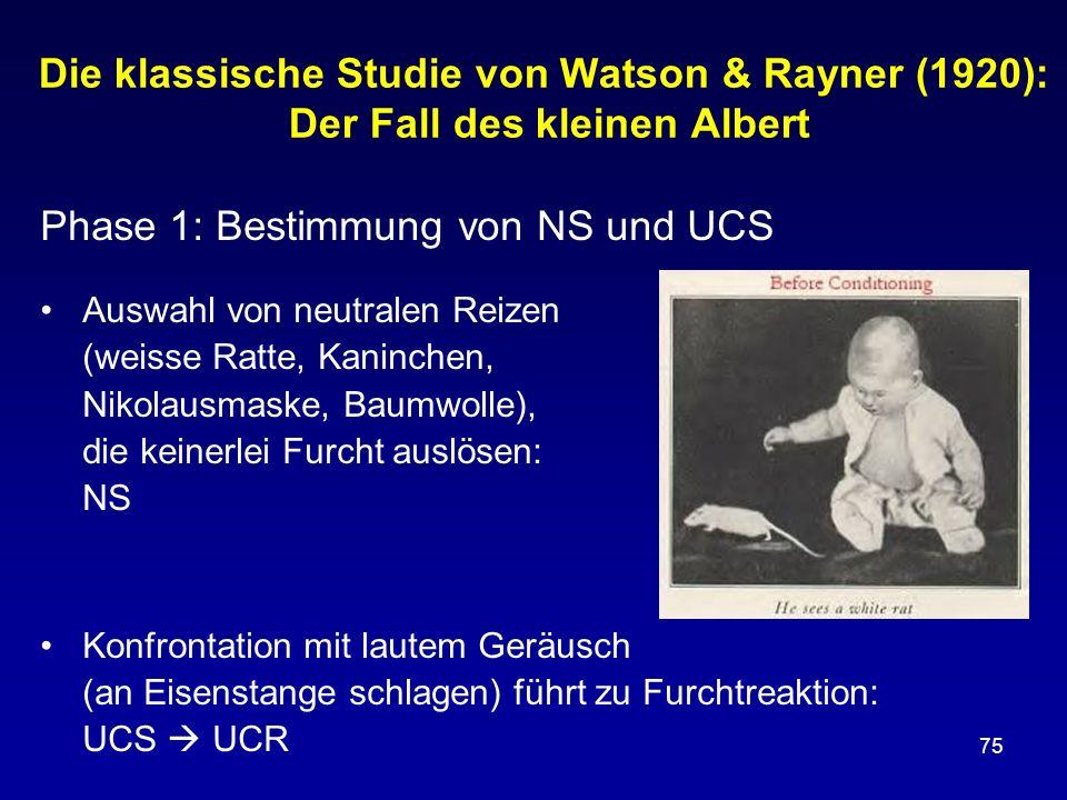 75 Die klassische Studie von Watson & Rayner (1920): Der Fall des kleinen Albert Phase 1: Bestimmung von NS und UCS Auswahl von neutralen Reizen (weis