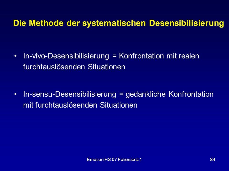 Emotion HS 07 Foliensatz 184 Die Methode der systematischen Desensibilisierung In-vivo-Desensibilisierung = Konfrontation mit realen furchtauslösenden