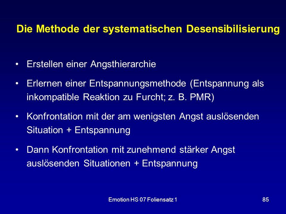 Emotion HS 07 Foliensatz 185 Die Methode der systematischen Desensibilisierung Erstellen einer Angsthierarchie Erlernen einer Entspannungsmethode (Ent