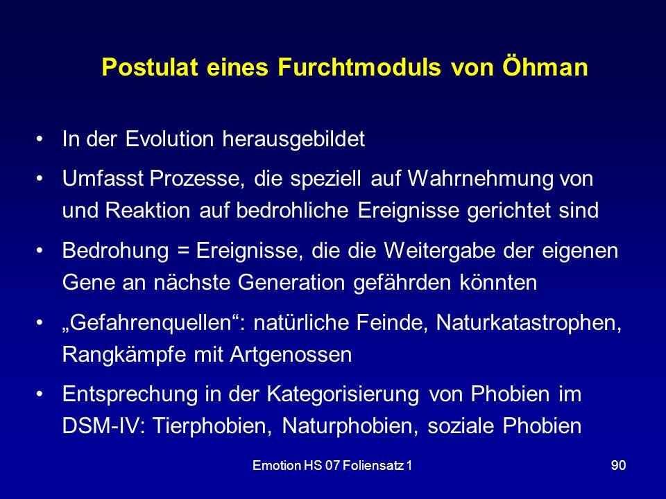 Emotion HS 07 Foliensatz 190 Postulat eines Furchtmoduls von Öhman In der Evolution herausgebildet Umfasst Prozesse, die speziell auf Wahrnehmung von