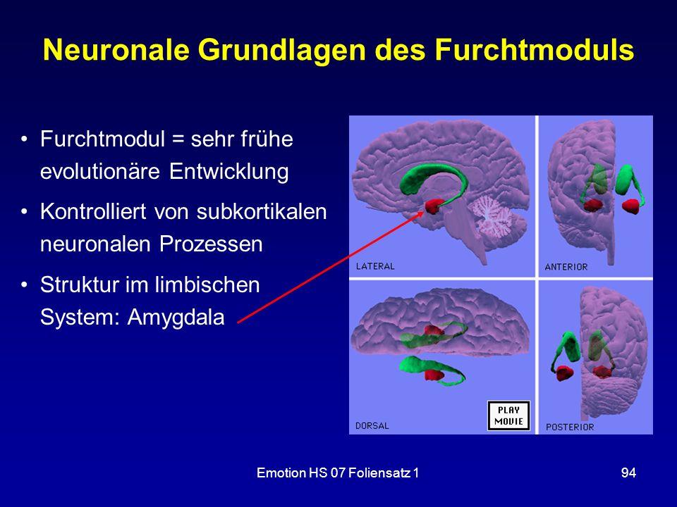 Emotion HS 07 Foliensatz 194 Neuronale Grundlagen des Furchtmoduls Furchtmodul = sehr frühe evolutionäre Entwicklung Kontrolliert von subkortikalen ne
