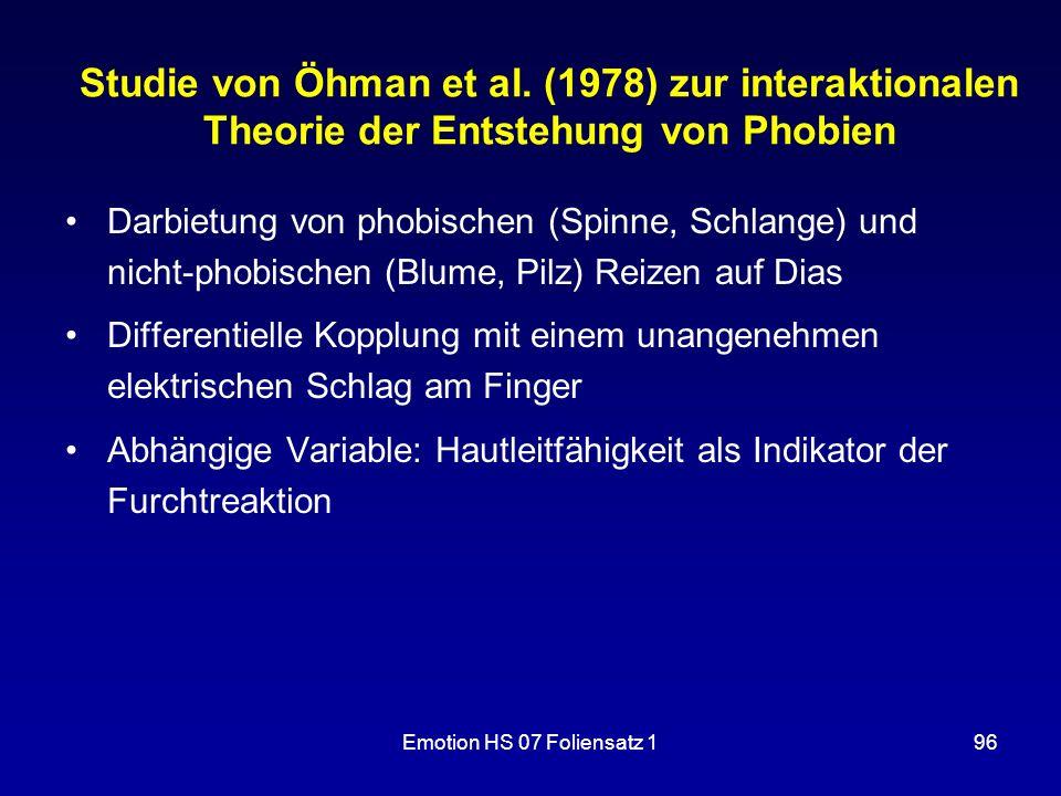 Emotion HS 07 Foliensatz 196 Studie von Öhman et al. (1978) zur interaktionalen Theorie der Entstehung von Phobien Darbietung von phobischen (Spinne,