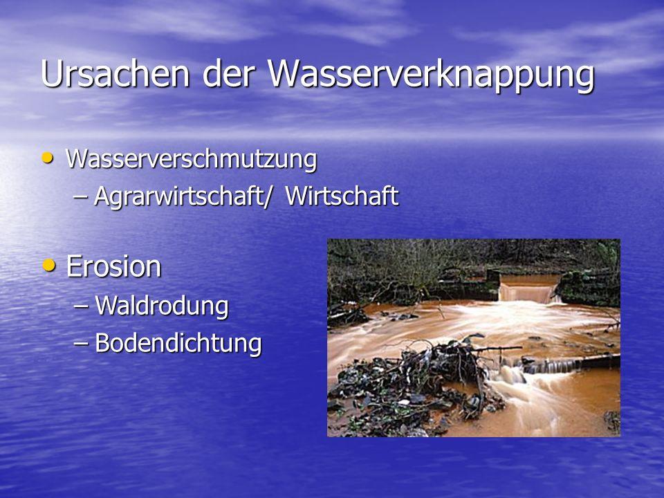 Ursachen der Wasserverknappung Wasserverschmutzung Wasserverschmutzung –Agrarwirtschaft/ Wirtschaft Erosion Erosion –Waldrodung –Bodendichtung