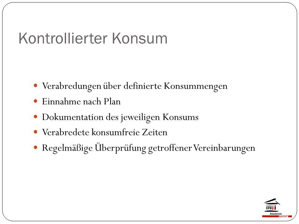 Kontrollierter Konsum Verabredungen über definierte Konsummengen Einnahme nach Plan Dokumentation des jeweiligen Konsums Verabredete konsumfreie Zeiten Regelmäßige Überprüfung getroffener Vereinbarungen