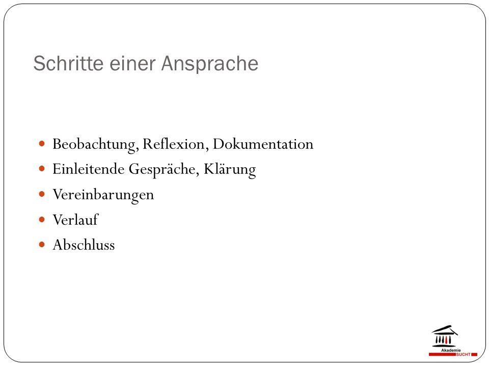 Schritte einer Ansprache Beobachtung, Reflexion, Dokumentation Einleitende Gespräche, Klärung Vereinbarungen Verlauf Abschluss