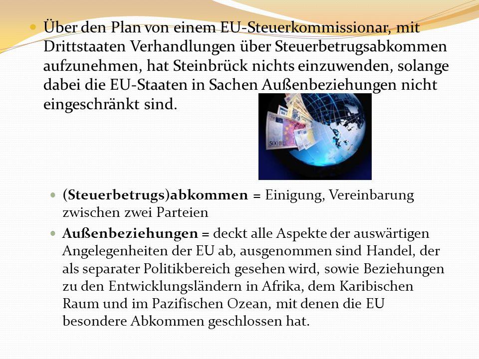 Über den Plan von einem EU-Steuerkommissionar, mit Drittstaaten Verhandlungen über Steuerbetrugsabkommen aufzunehmen, hat Steinbrück nichts einzuwende