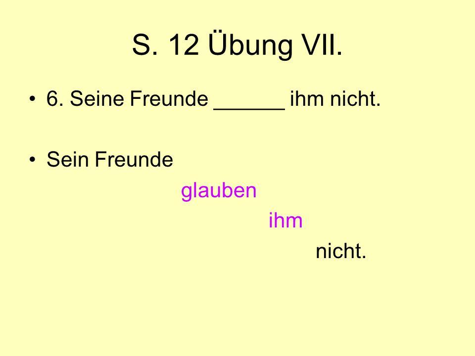 S. 12 Übung VII. 6. Seine Freunde ______ ihm nicht. Sein Freunde glauben ihm nicht.
