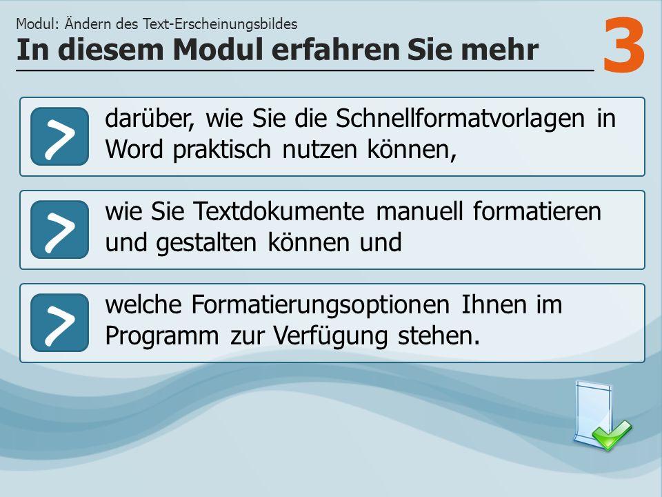 3 >> wie Sie Textdokumente manuell formatieren und gestalten können und welche Formatierungsoptionen Ihnen im Programm zur Verfügung stehen. In diesem