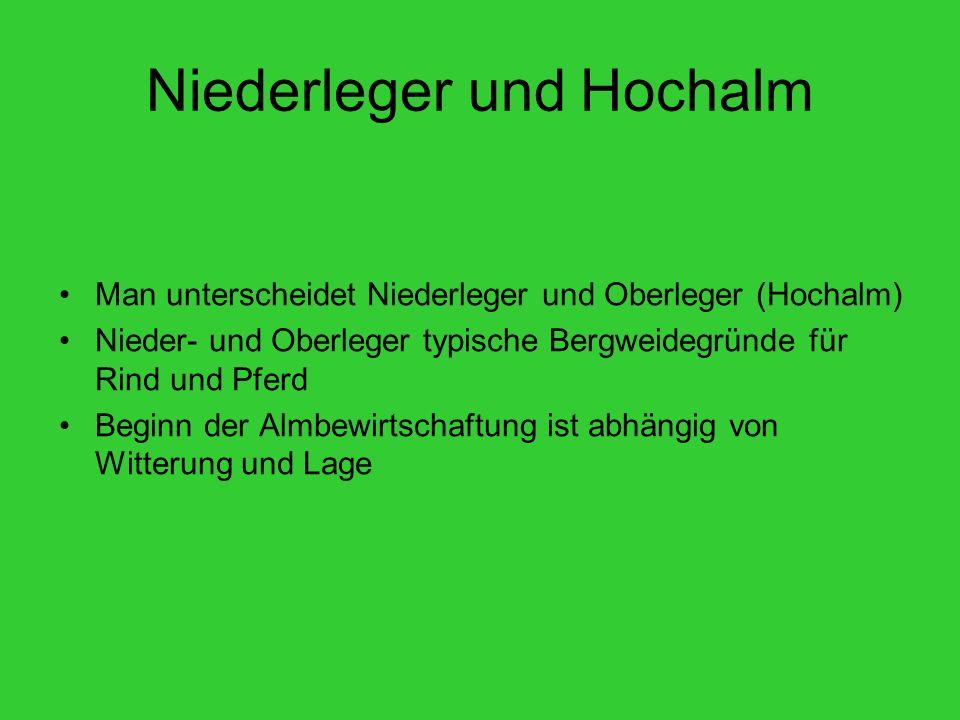 Niederleger und Hochalm Man unterscheidet Niederleger und Oberleger (Hochalm) Nieder- und Oberleger typische Bergweidegründe für Rind und Pferd Beginn