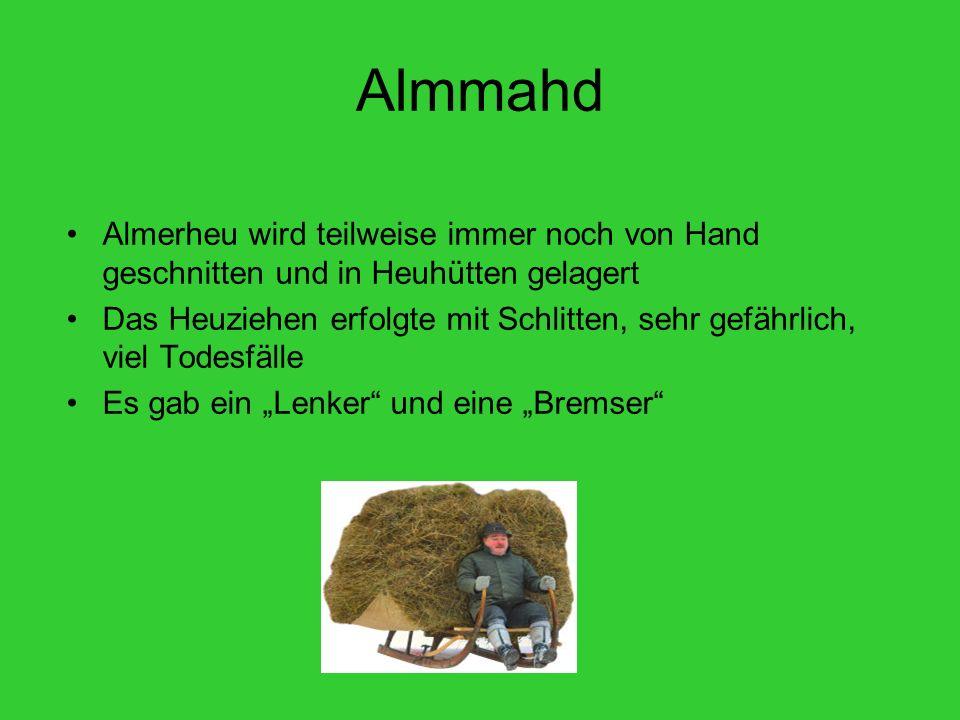 Almmahd Almerheu wird teilweise immer noch von Hand geschnitten und in Heuhütten gelagert Das Heuziehen erfolgte mit Schlitten, sehr gefährlich, viel