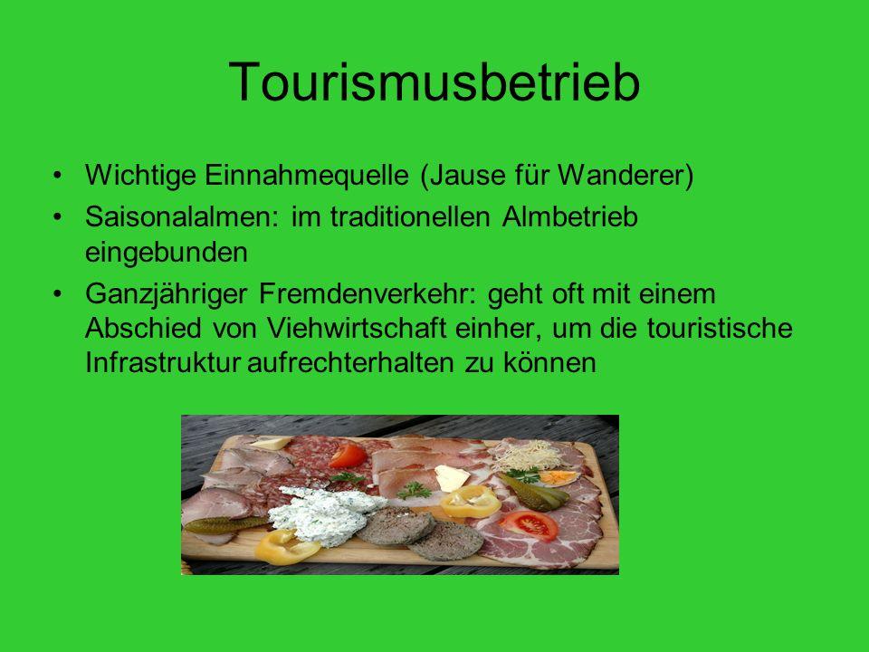 Tourismusbetrieb Wichtige Einnahmequelle (Jause für Wanderer) Saisonalalmen: im traditionellen Almbetrieb eingebunden Ganzjähriger Fremdenverkehr: geh