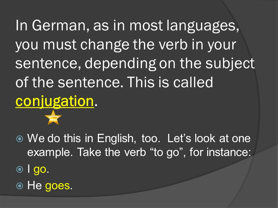 In German, as in most languages, you must change the verb in your sentence, depending on the subject of the sentence. This is called conjugation.  We