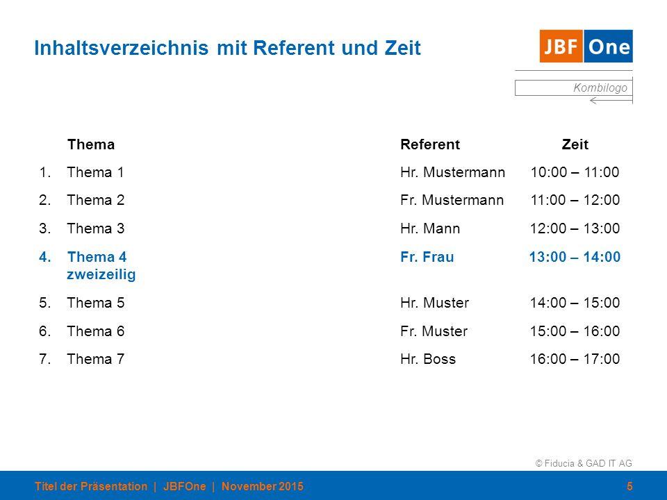 © Fiducia & GAD IT AG Kombilogo Inhaltsverzeichnis mit Referent und Zeit ThemaReferentZeit 1.Thema 1Hr. Mustermann10:00 – 11:00 2.Thema 2Fr. Musterman