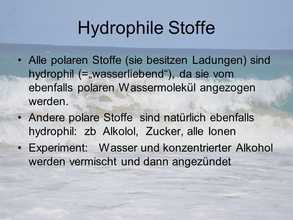 """Hydrophile Stoffe Alle polaren Stoffe (sie besitzen Ladungen) sind hydrophil (=""""wasserliebend""""), da sie vom ebenfalls polaren Wassermolekül angezogen"""