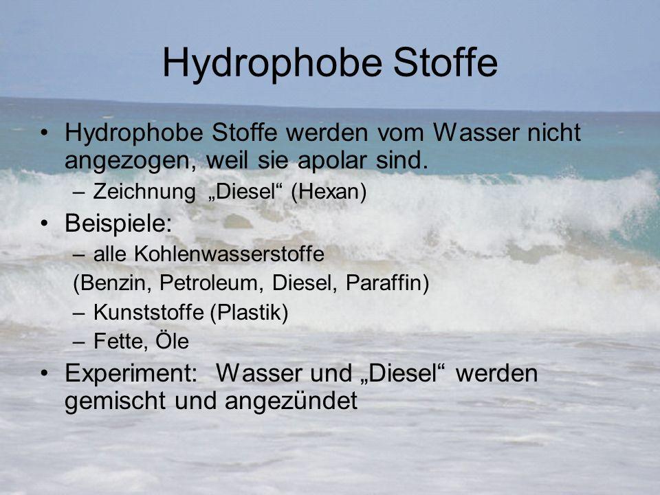 """Hydrophobe Stoffe Hydrophobe Stoffe werden vom Wasser nicht angezogen, weil sie apolar sind. –Zeichnung """"Diesel"""" (Hexan) Beispiele: –alle Kohlenwasser"""