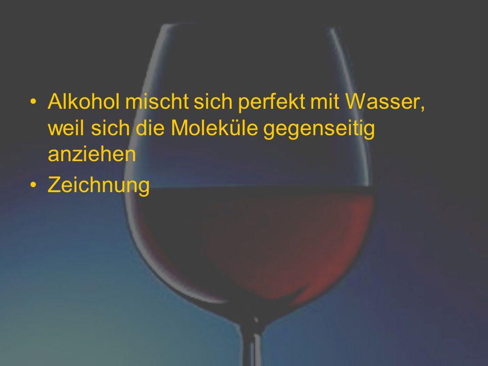 Alkohol mischt sich perfekt mit Wasser, weil sich die Moleküle gegenseitig anziehen Zeichnung
