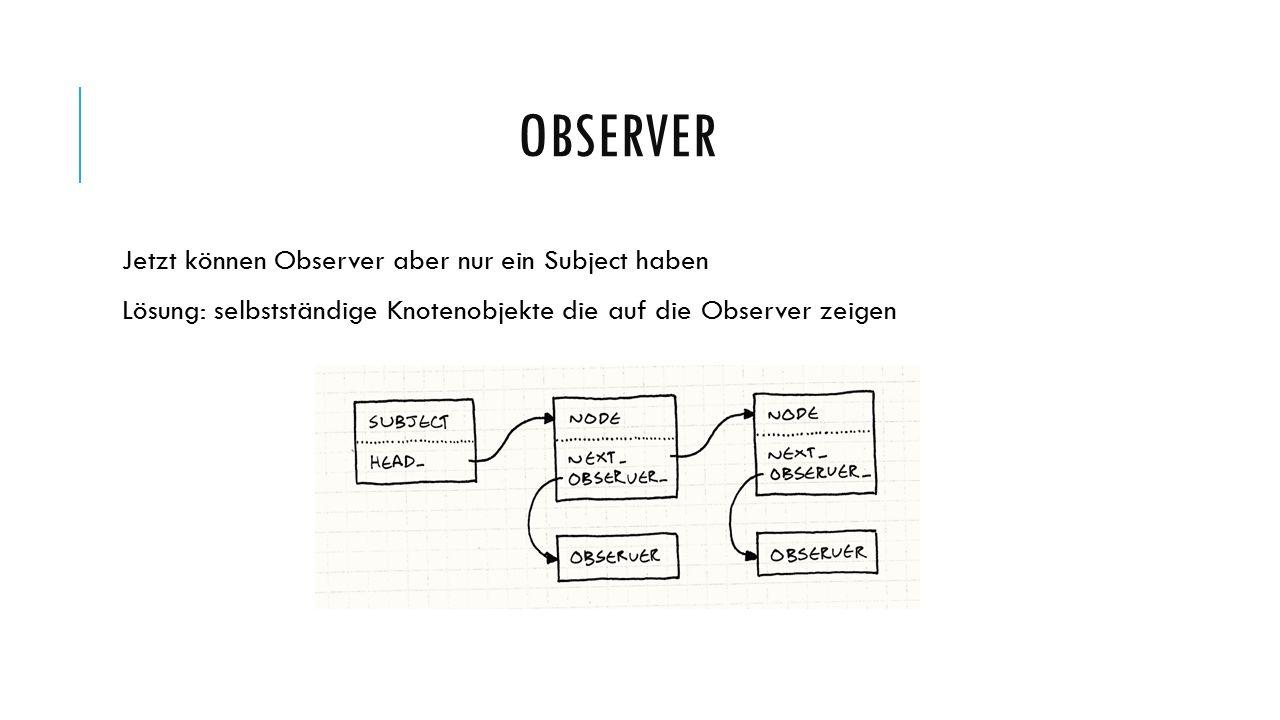 OBSERVER Jetzt können Observer aber nur ein Subject haben Lösung: selbstständige Knotenobjekte die auf die Observer zeigen