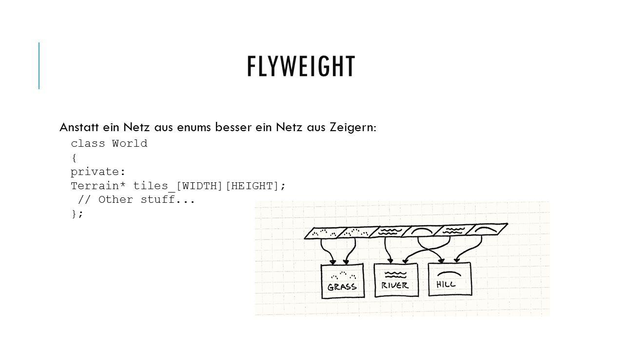 Anstatt ein Netz aus enums besser ein Netz aus Zeigern: class World { private: Terrain* tiles_[WIDTH][HEIGHT]; // Other stuff...