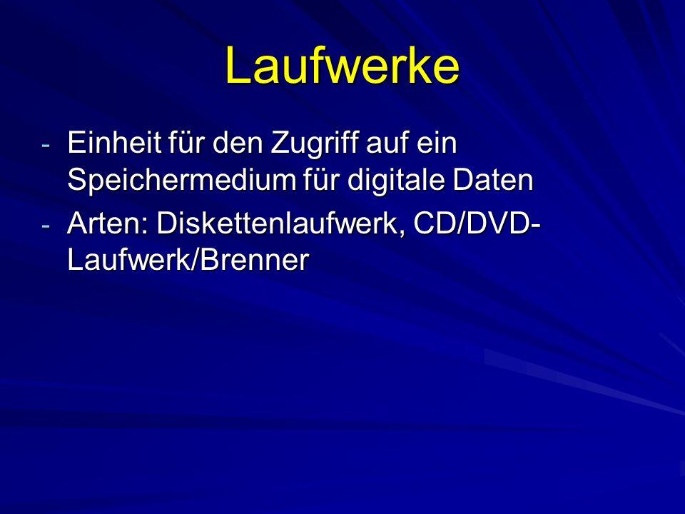 Laufwerke - Einheit für den Zugriff auf ein Speichermedium für digitale Daten - Arten: Diskettenlaufwerk, CD/DVD- Laufwerk/Brenner