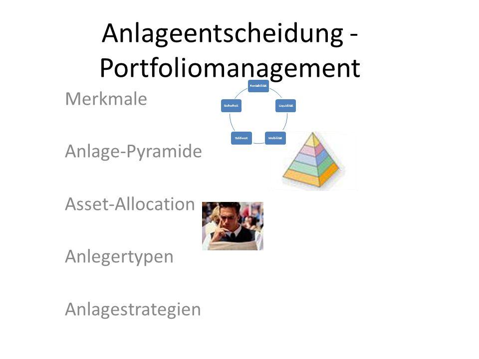 Merkmale Anlage-Pyramide Asset-Allocation Anlegertypen Anlagestrategien Anlageentscheidung - Portfoliomanagement RentabilitätLiquiditätMobilitätGeldwe