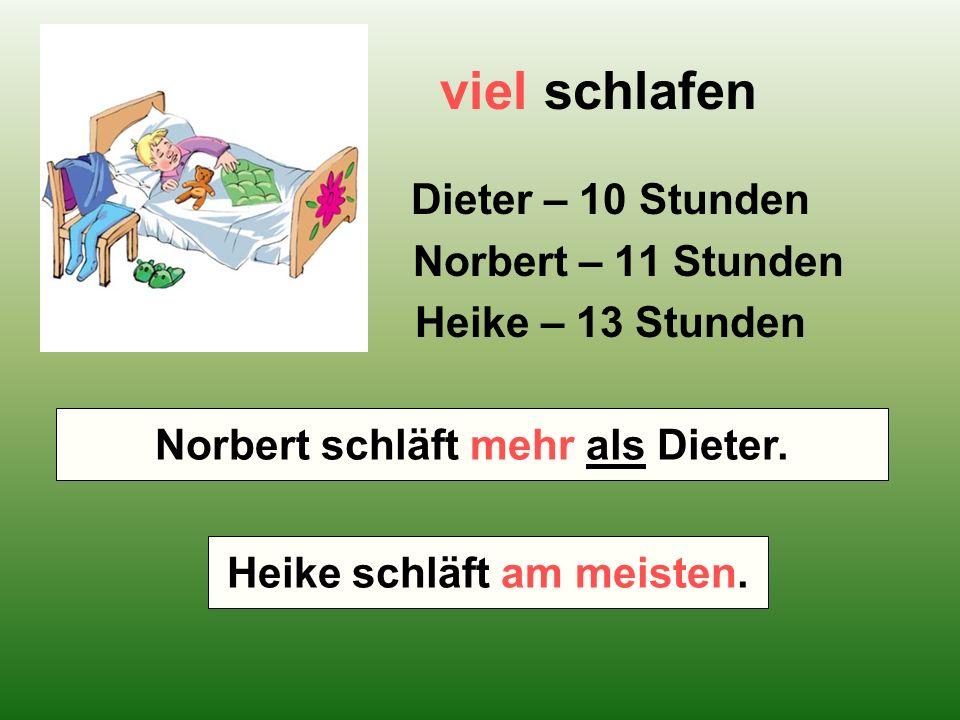 viel schlafen Dieter – 10 Stunden Norbert – 11 Stunden Heike – 13 Stunden Wer schläft mehr – Norbert oder Dieter.
