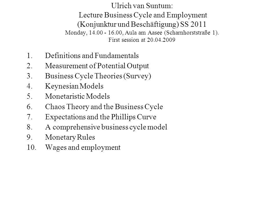 Ulrich van Suntum: Lecture Business Cycle and Employment (Konjunktur und Beschäftigung) SS 2011 Monday, 14.00 - 16.00, Aula am Aasee (Scharnhorststraße 1).