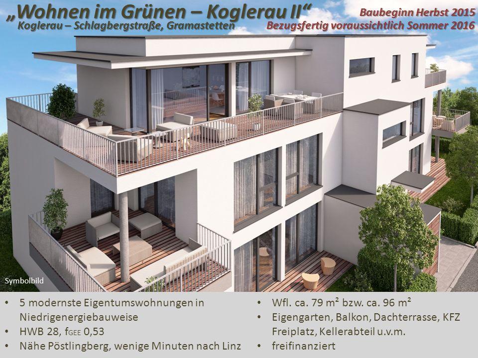 """""""Wohnen im Grünen – Koglerau II 5 modernste Eigentumswohnungen in Niedrigenergiebauweise HWB 28, f GEE 0,53 Nähe Pöstlingberg, wenige Minuten nach Linz Symbolbild Wfl."""