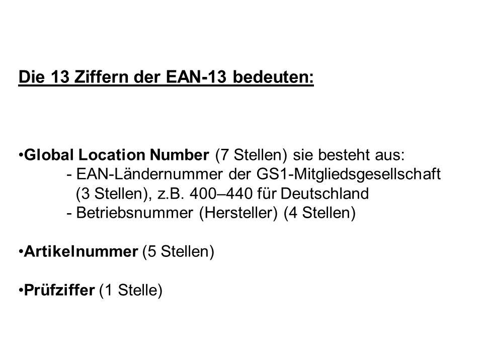 Die 13 Ziffern der EAN-13 bedeuten: Global Location Number (7 Stellen) sie besteht aus: - EAN-Ländernummer der GS1-Mitgliedsgesellschaft (3 Stellen),