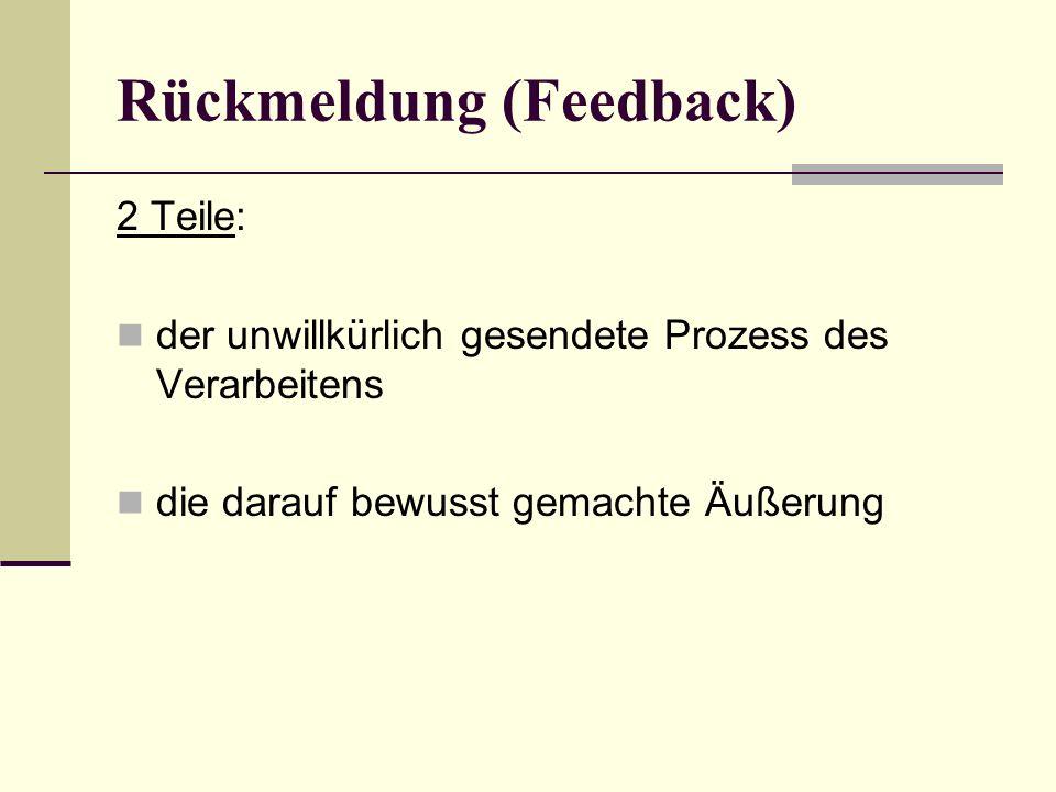 Rückmeldung (Feedback) 2 Teile: der unwillkürlich gesendete Prozess des Verarbeitens die darauf bewusst gemachte Äußerung