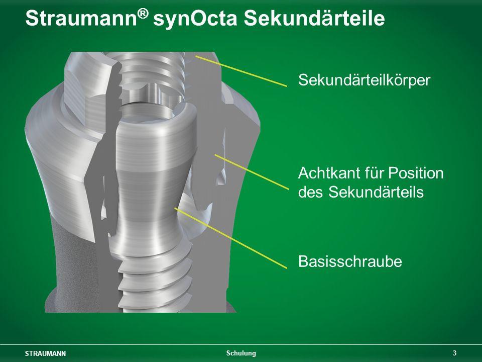 STRAUMANN 3 Schulung Straumann ® synOcta Sekundärteile Sekundärteilkörper Achtkant für Position des Sekundärteils Basisschraube