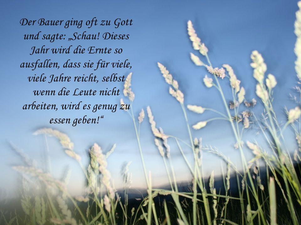 Der Weizen wuchs und wuchs immer höher! Wenn er Sonne wollte, schien diese; wenn er Regen wollte, regnete es, so viel er nur wollte. In diesem Jahr li