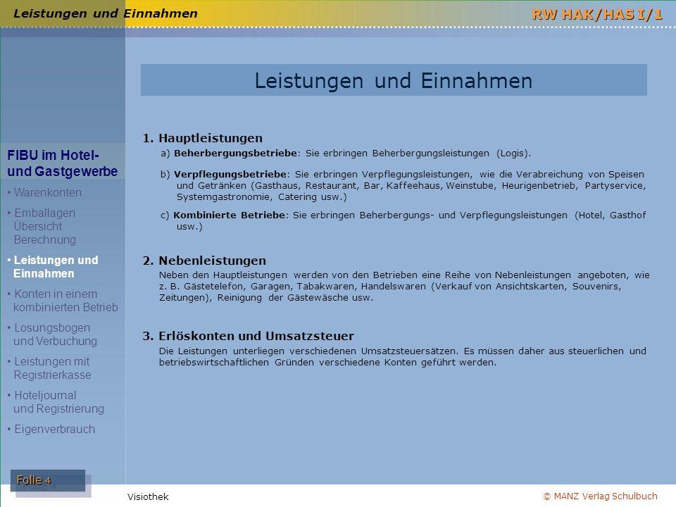 © MANZ Verlag Schulbuch Folie 4 RW HAK/HAS I/1 Visiothek Leistungen und Einnahmen FIBU im Hotel- und Gastgewerbe Warenkonten Emballagen Übersicht Bere