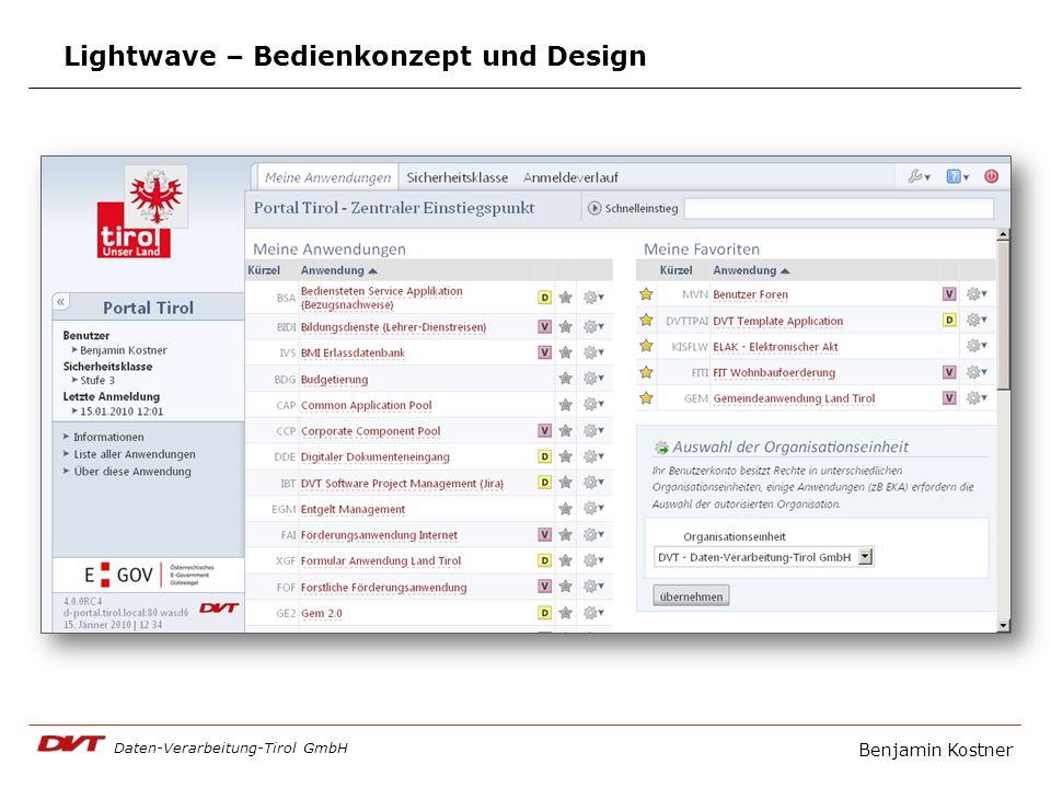 Daten-Verarbeitung-Tirol GmbH Benjamin Kostner Lightwave – Bedienkonzept und Design