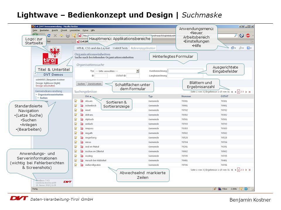 Daten-Verarbeitung-Tirol GmbH Lightwave – Bedienkonzept und Design | Suchmaske Logo: zur Startseite Hauptmenü: Applikationsbereiche Anwendungsmenü: Ne