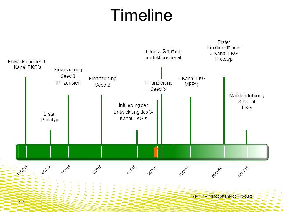12 Entwicklung des 1- Kanal EKG´s 11/2013 8/2015 3-Kanal EKG MFP*) 12/2015 Erster funktionsfähiger 3-Kanal EKG Prototyp 03/2016 06/2016 Markteinführung 3-Kanal EKG Initiierung der Entwicklung des 3- Kanal EKG´s Erster Prototyp 4/2014 Finanzierung Seed 1 IP lizensiert 7/2014 Finanzierung Seed 2 2/2015 Finanzierung Seed 3 9/2015 Fitness Shirt ist produktionsbereit *) MFP = Mindestfähiges Produkt Timeline