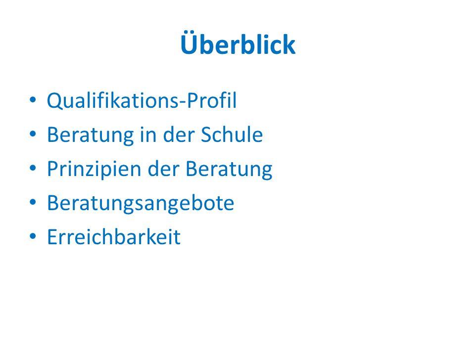 Überblick Qualifikations-Profil Beratung in der Schule Prinzipien der Beratung Beratungsangebote Erreichbarkeit