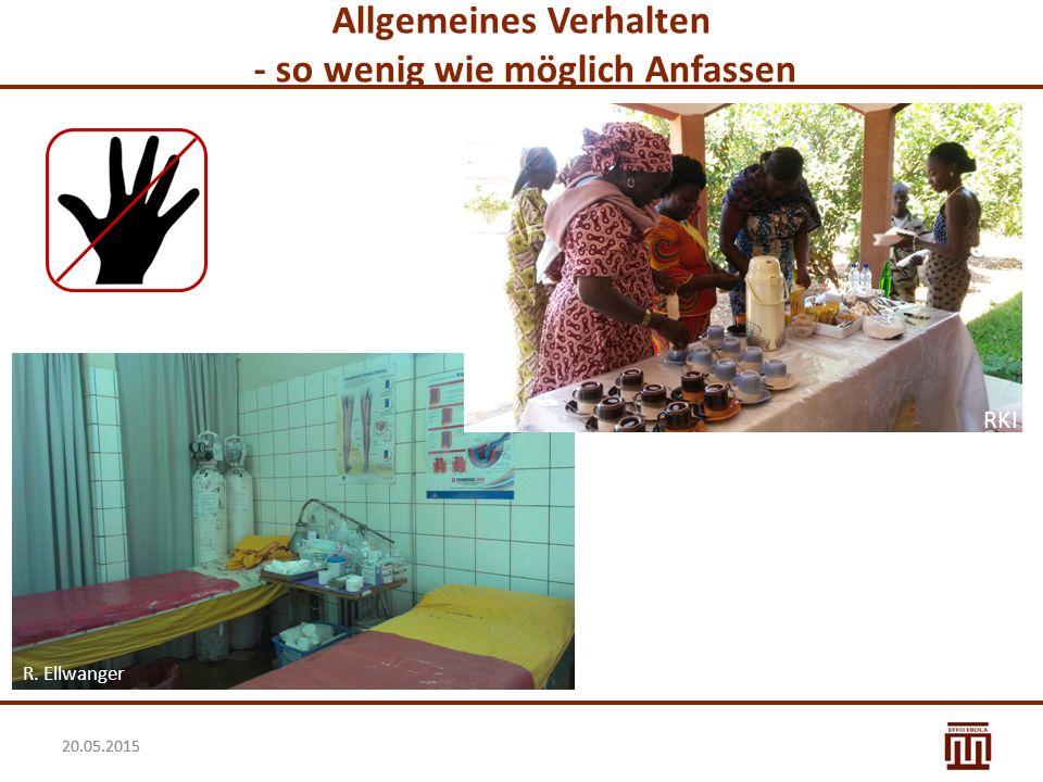 20.05.2015 Allgemeine Hygienemaßnahmen: Kernbotschaften II Die allgemeinen Hygienemaßnahmen gelten:  bei allen Patienten, egal ob infektiös oder nicht  jederzeit  für das gesamte Krankenhauspersonal.