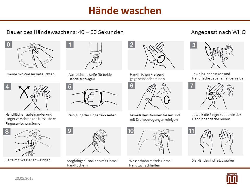20.05.2015 Die Pflege der Hände Die regelmäßige Anwendung von Seife und Desinfektionsmitteln kann die Haut an den Händen austrocknen und irritieren:  Regelmäßige und individuelle Pflege ist unerlässlich.