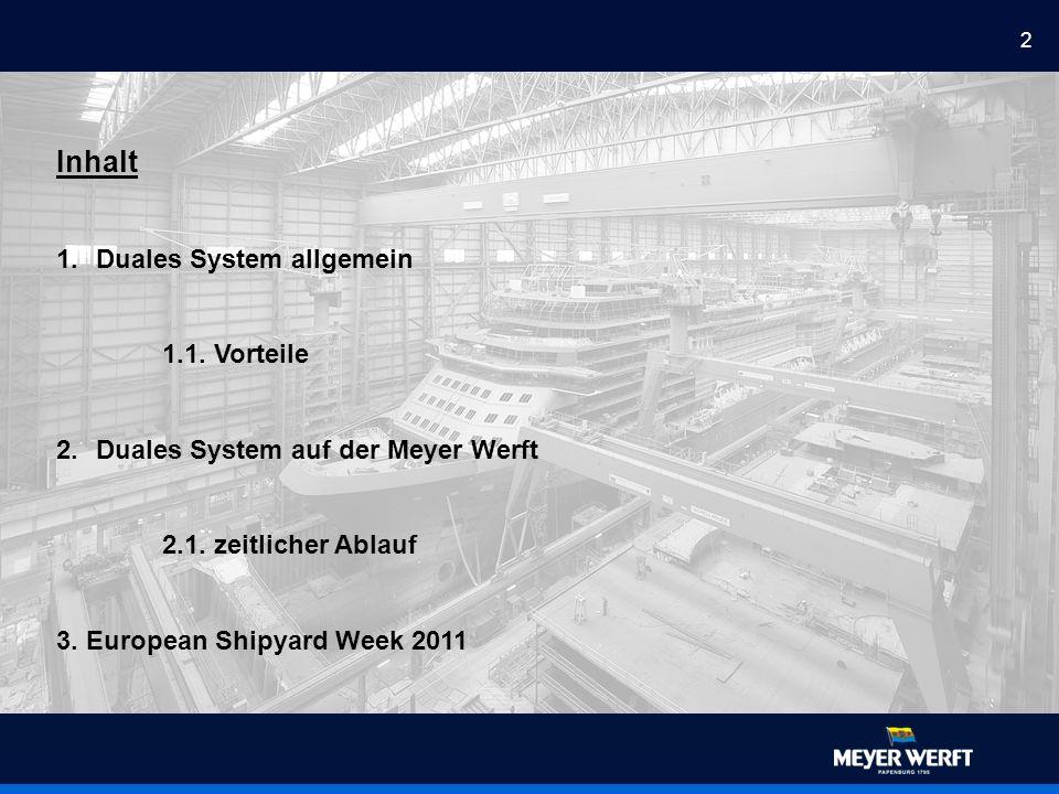 2 Inhalt 1.Duales System allgemein 1.1. Vorteile 2.Duales System auf der Meyer Werft 2.1.