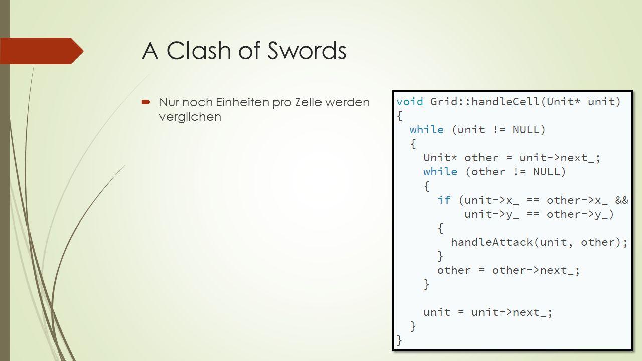 A Clash of Swords  Nur noch Einheiten pro Zelle werden verglichen