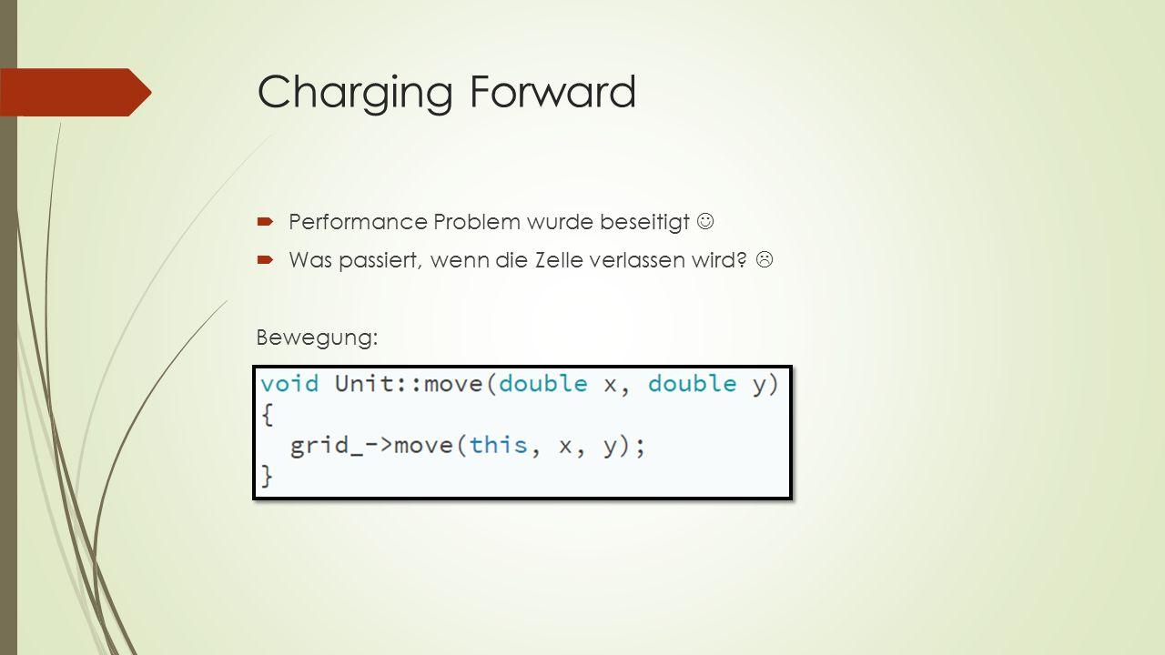 Charging Forward  Performance Problem wurde beseitigt  Was passiert, wenn die Zelle verlassen wird.