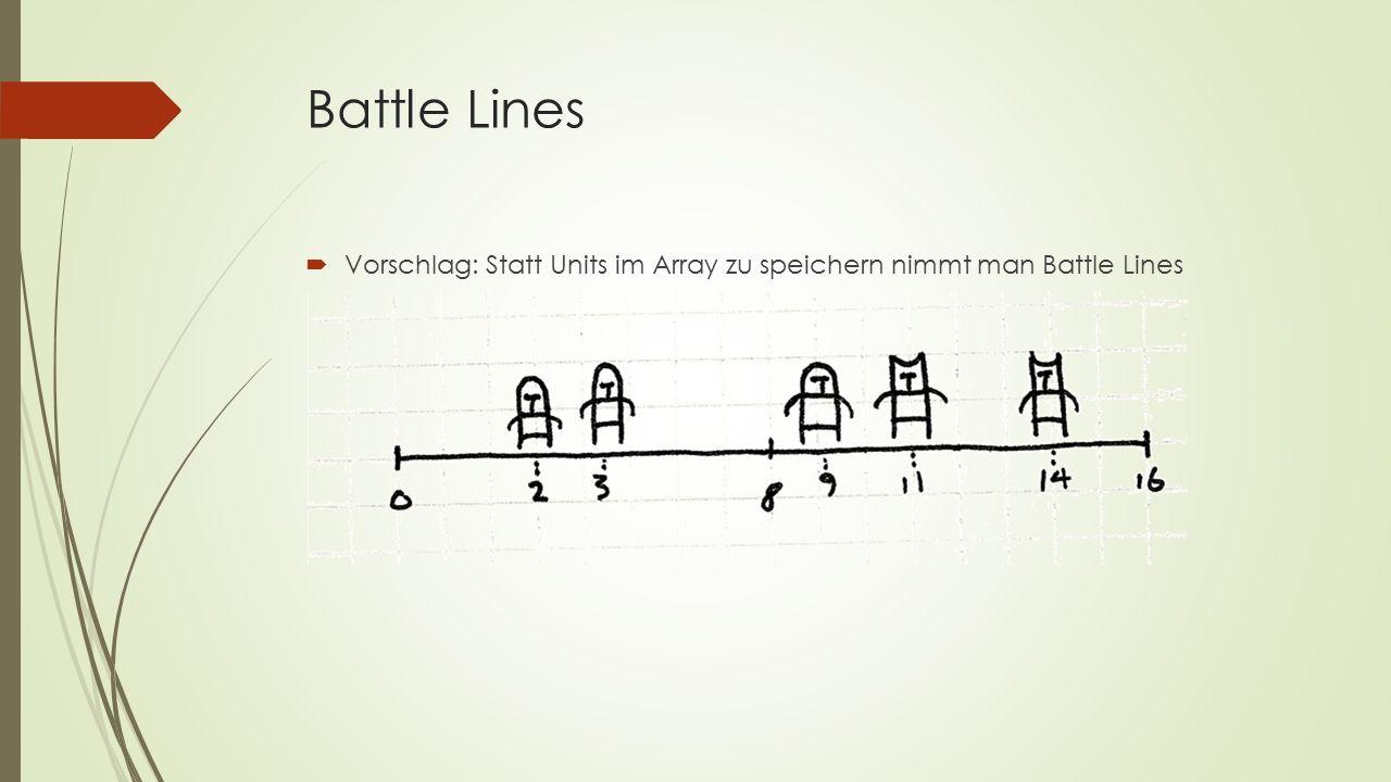 Battle Lines  Vorschlag: Statt Units im Array zu speichern nimmt man Battle Lines