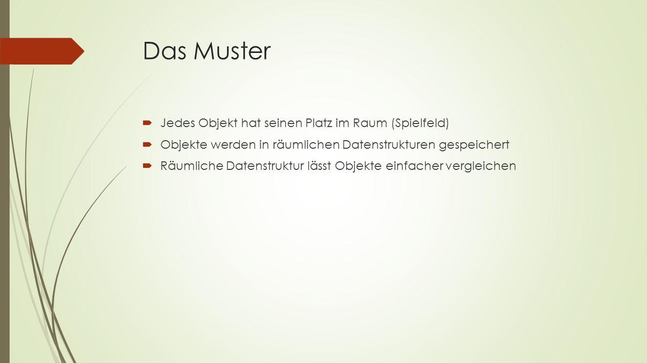 Das Muster  Jedes Objekt hat seinen Platz im Raum (Spielfeld)  Objekte werden in räumlichen Datenstrukturen gespeichert  Räumliche Datenstruktur lässt Objekte einfacher vergleichen
