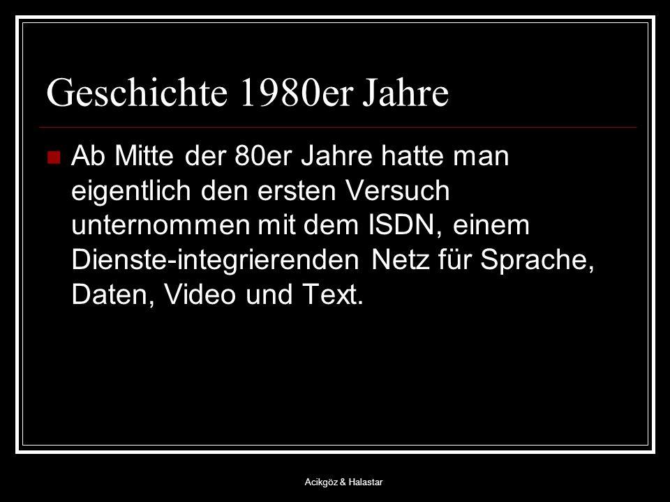 Acikgöz & Halastar Geschichte 1980er Jahre Ab Mitte der 80er Jahre hatte man eigentlich den ersten Versuch unternommen mit dem ISDN, einem Dienste-integrierenden Netz für Sprache, Daten, Video und Text.