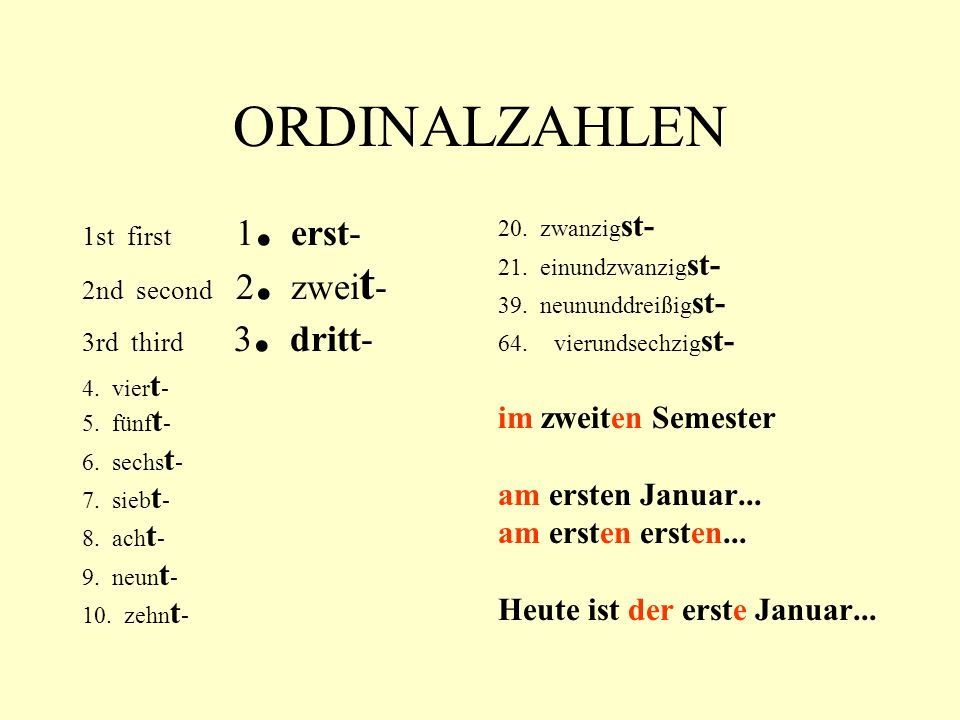 ORDINALZAHLEN 1st first 1. erst- 2nd second 2. zwei t - 3rd third 3.