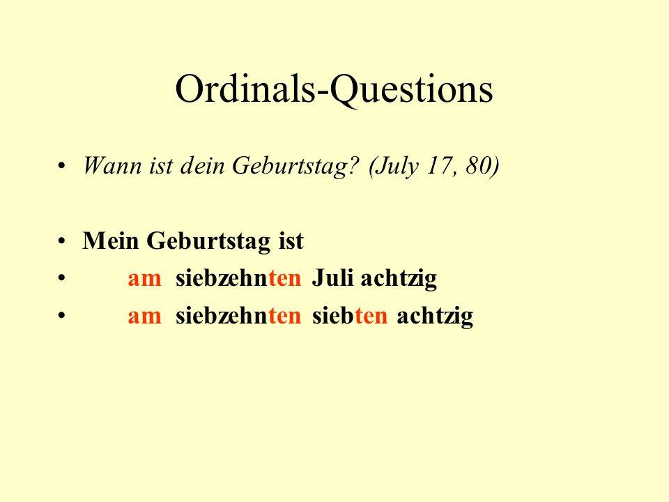 Ordinals-Questions Wann ist dein Geburtstag.