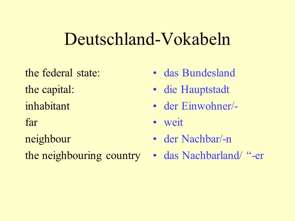 Deutschland-Vokabeln the federal state: the capital: inhabitant far neighbour the neighbouring country das Bundesland die Hauptstadt der Einwohner/- weit der Nachbar/-n das Nachbarland/ -er
