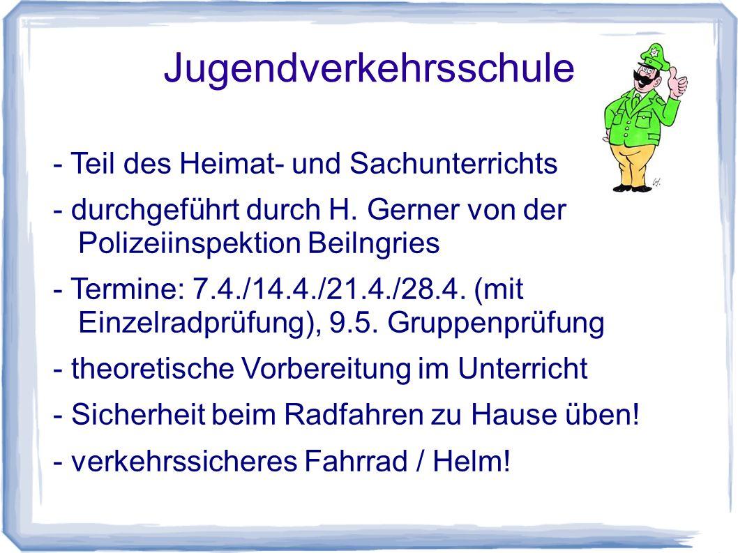 Jugendverkehrsschule - Teil des Heimat- und Sachunterrichts - durchgeführt durch H.