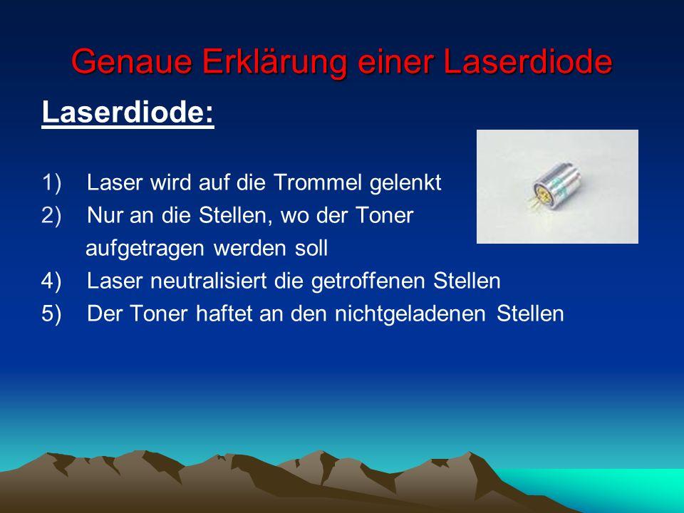 Genaue Erklärung einer Laserdiode Laserdiode: 1)Laser wird auf die Trommel gelenkt 2)Nur an die Stellen, wo der Toner aufgetragen werden soll 4) Laser